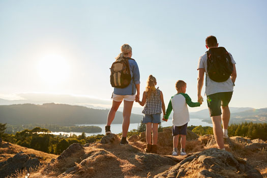 Family enjoying a trip funded by a home equity line of credit